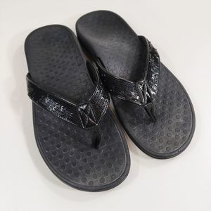 Vionic black sequined sandals flip flops size 7